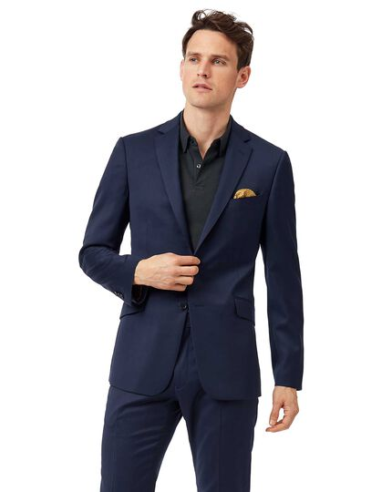 Mid blue extra slim fit Italian natural stretch suit jacket