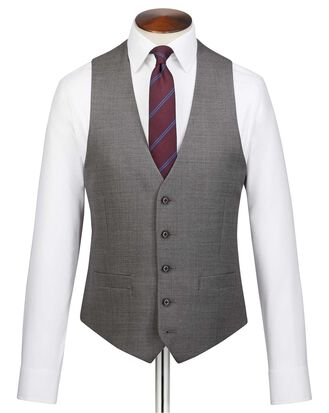 Grey adjustable fit jaspe business suit vest
