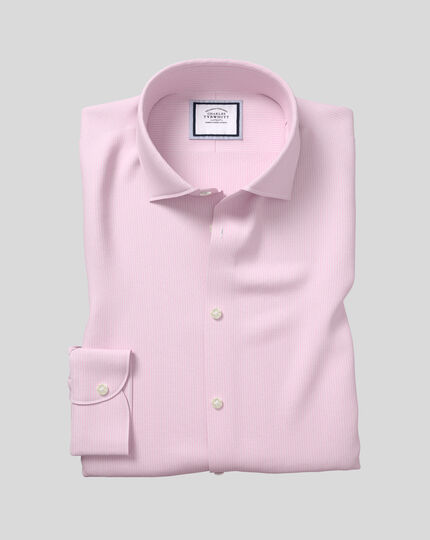 Business Casual Collar Softly Smart Stripe Shirt- Pink