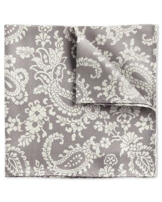 Grey classic paisley pocket square