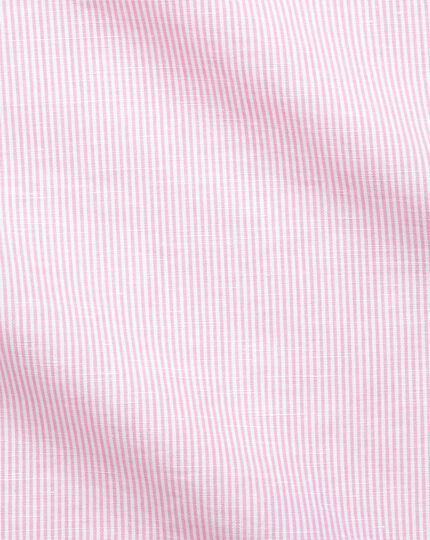 Slim fit spread collar business casual linen cotton pink and white shirt