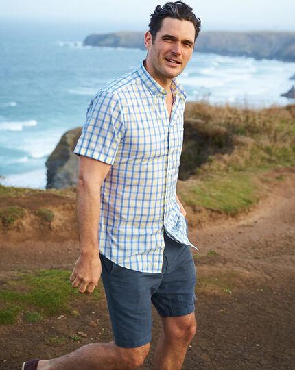 Airforce blue cotton linen shorts