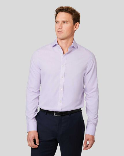 Spread Collar Non-Iron Poplin Shirt - Lilac