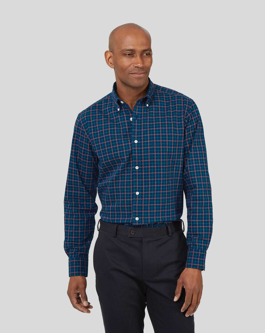Bügelfreies Popeline-Hemd aus Stretchgewebe mit Button-down-Kragen und bunten Karos - Marineblau