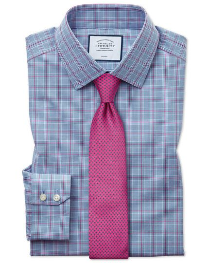 Classic fit non-iron Prince of Wales check blue and purple shirt