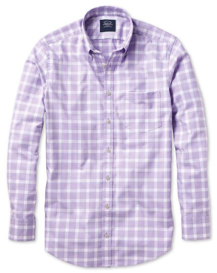 Block Check Soft Washed Non-Iron Twill Shirt - Lilac