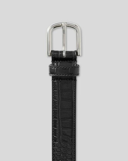 Embossed Croc Italian Leather Smart Belt  - Black