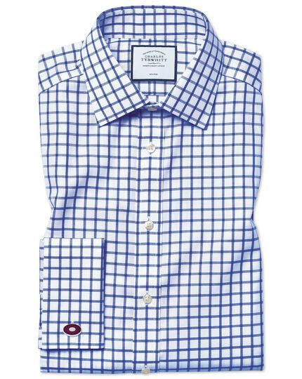 Classic fit non-iron royal blue grid check twill shirt