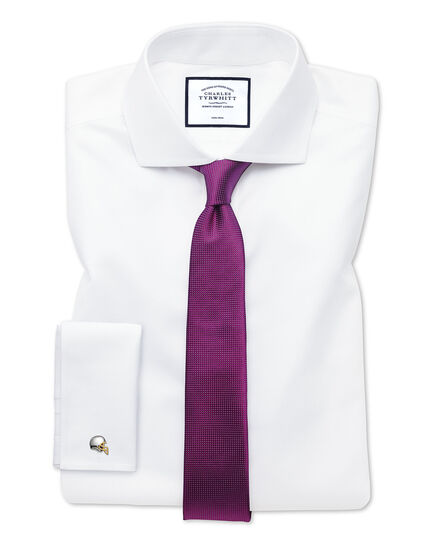 Extra slim fit spread collar non-iron twill white shirt