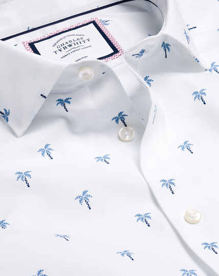 Smart Casual Collar Palm Tree Printed Shirt - Blue