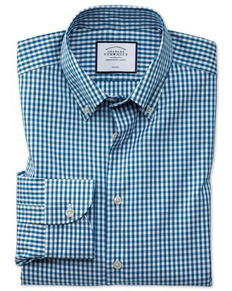 Classic fit business casual non-iron button-down teal check shirt