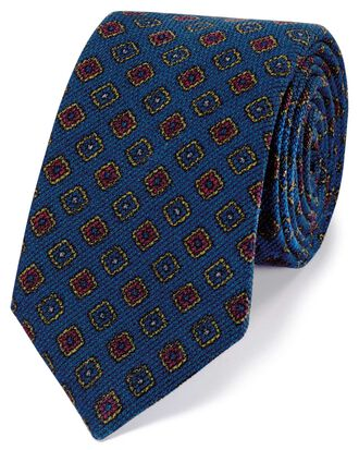 Royal blue wool medallion print Italian luxury tie