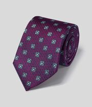 Silk Textured Diamond Motif Classic Tie - Berry & Sky