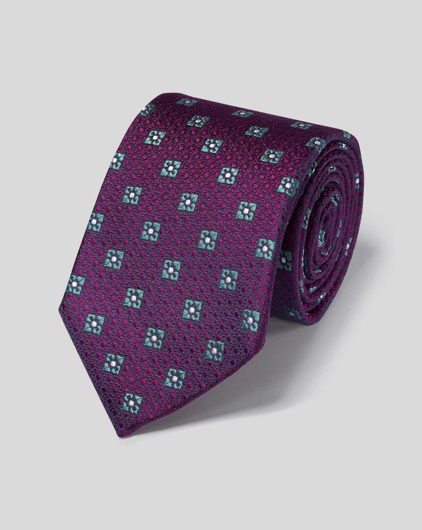 Silk Textured Diamond Motif Tie - Berry & Sky