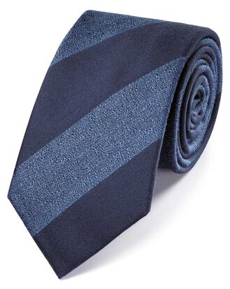 Navy and sky wool and silk stripe classic tie