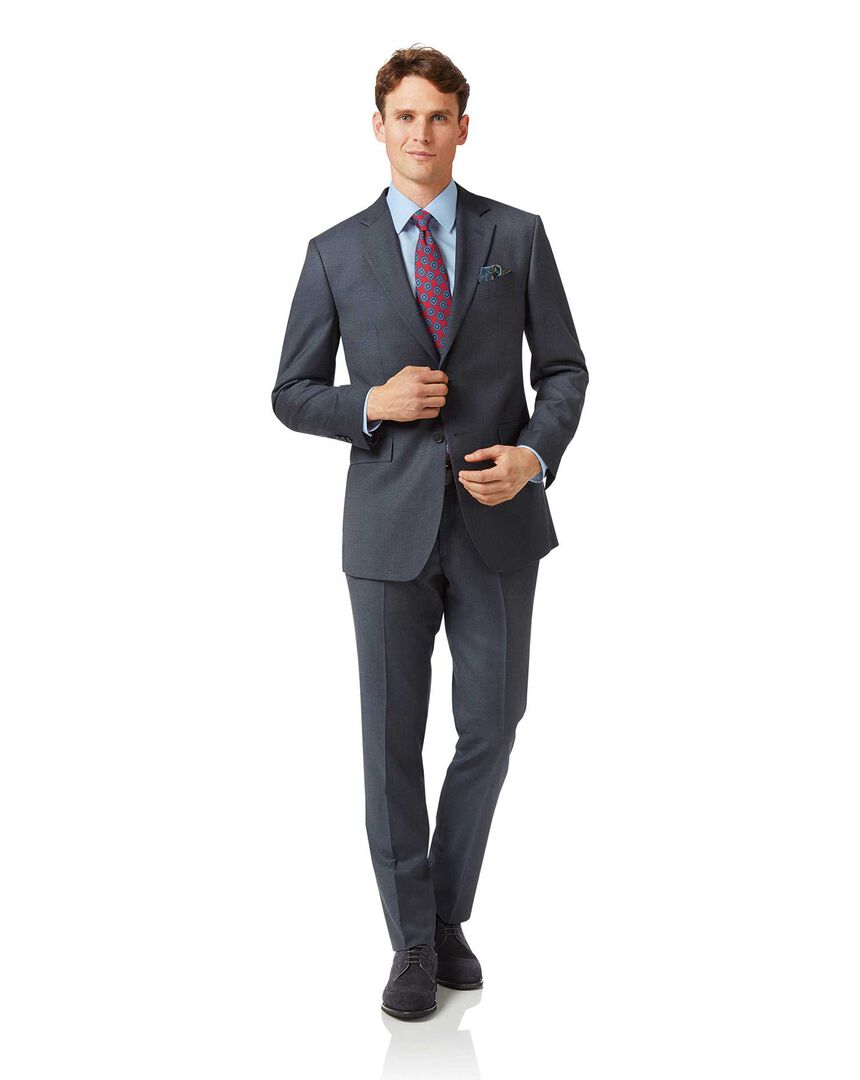 Steel blue slim fit twill business suit