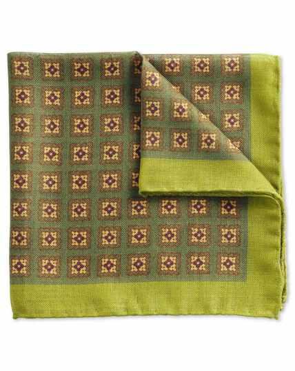 Luxus-Einstecktuch aus italienischer Seidenwolle in Grün