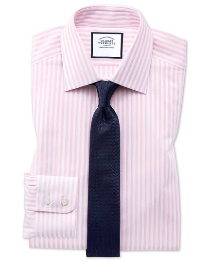 Extra slim fit pink and white dobby textured stripe shirt