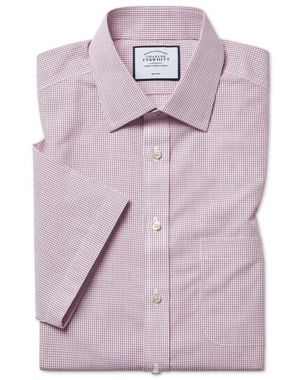 Short Sleeve Non-Iron Tyrwhitt Cool Poplin Check Shirt - Berry