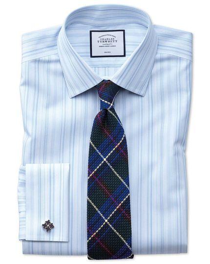 Classic fit non-iron blue multi stripe shirt