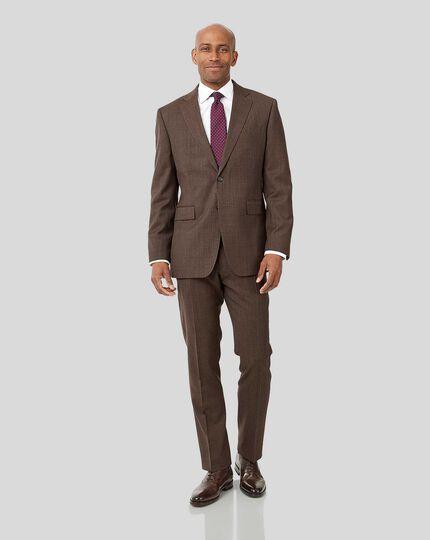 Semi-Plain Suit Jacket - Brown