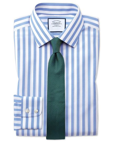 Classic fit non-iron Jermyn street stripes sky shirt