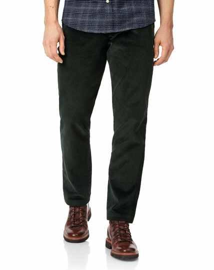 Dark green jumbo cord trousers