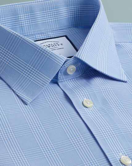 Non-Iron Prince Of Wales Shirt - Sky Blue