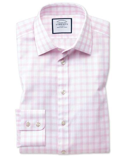 Slim fit windowpane check pink shirt