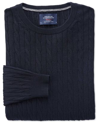 Navy cotton cashmere cable crew neck jumper