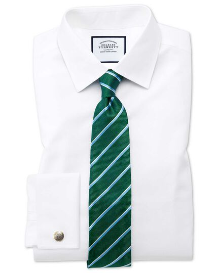 Green and sky silk traditional stripe classic tie