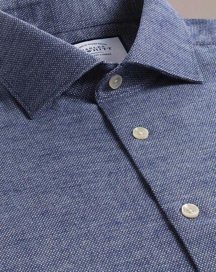 Weiches Extra Slim Fit Business-Casual-Hemd mit Kreismuster in Marineblau