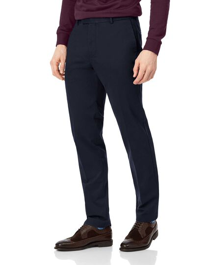 Navy flat front non-iron chinos