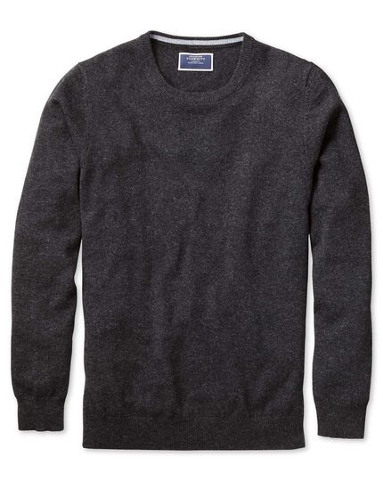 Charcoal crew neck cashmere sweater