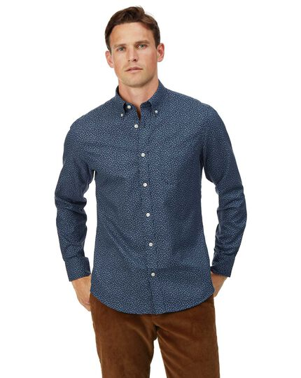 Slim fit soft washed non-iron twill navy leaf print shirt