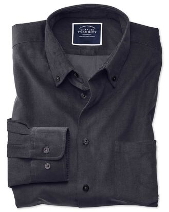 Classic fit plain charcoal fine corduroy shirt