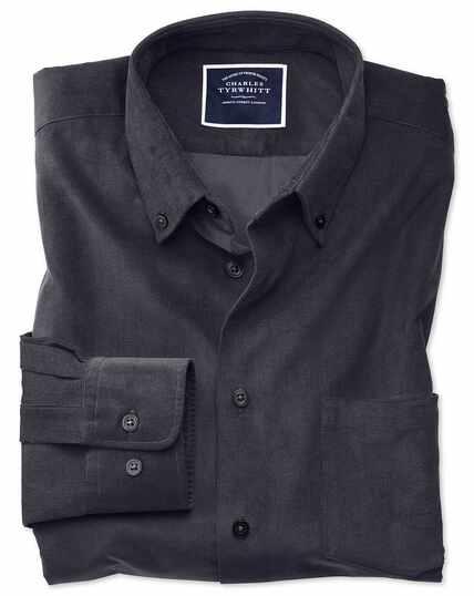 Classic fit plain charcoal fine corduroy shirt