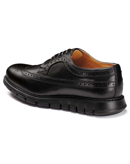 Black extra lightweight Derby brogue shoes