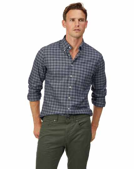 Slim fit soft washed non-iron twill grey check shirt