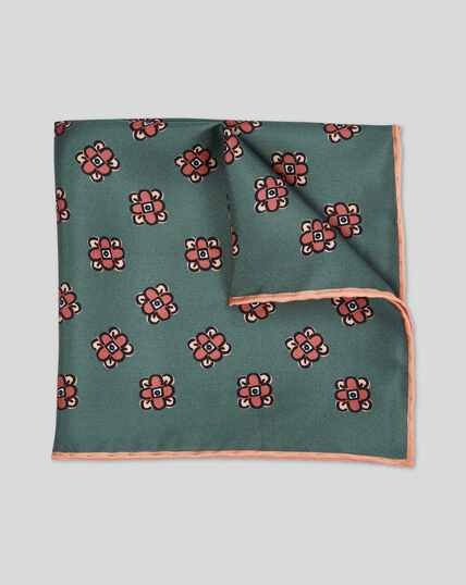 Floral Geometric Print Pocket Square - Green