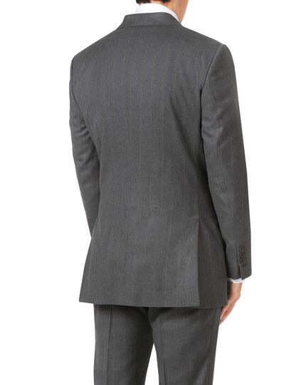 Charcoal slim fit tan stripe British luxury suit jacket