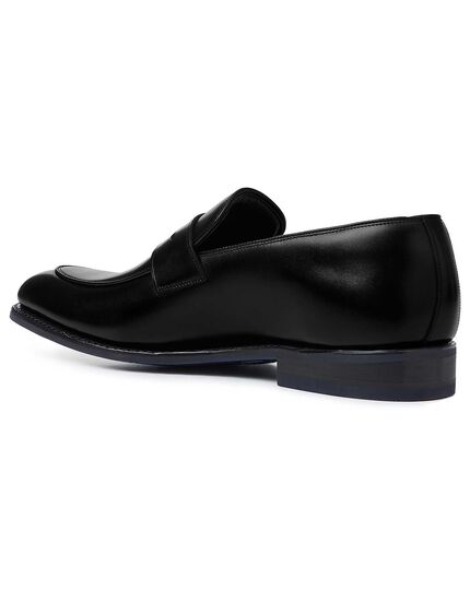 Black Goodyear welted performance saddle loafer