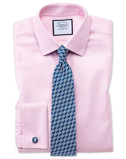 Bügelfreies Extra Slim Fit Hemd aus Stepweave-Gewebe in Rosa