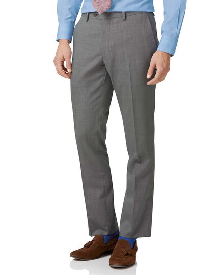 Silver slim fit step weave suit pants