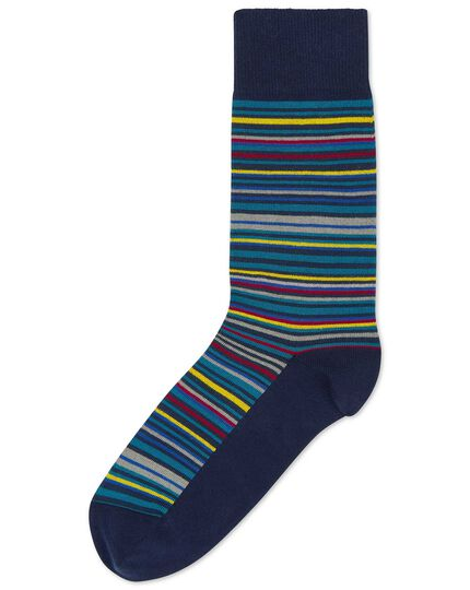 Teal multi stripe socks