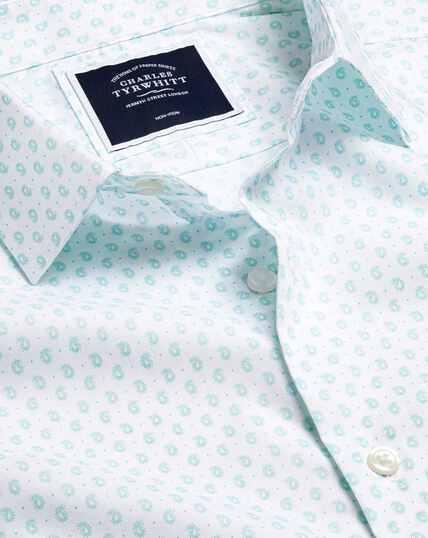 Popeline-Hemd mit Stretch und Paisleymuster - Aquamarin