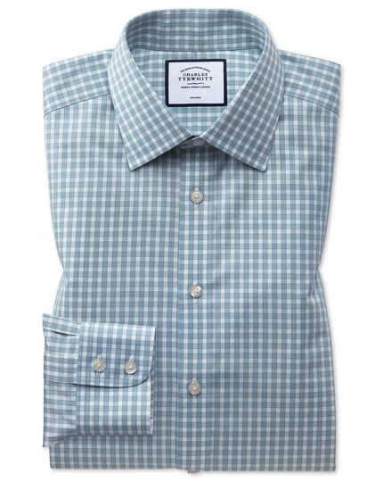 Classic fit non-iron twill teal gingham shirt