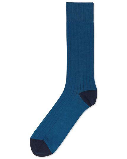 Chaussettes bleu foncé en coton côtelé
