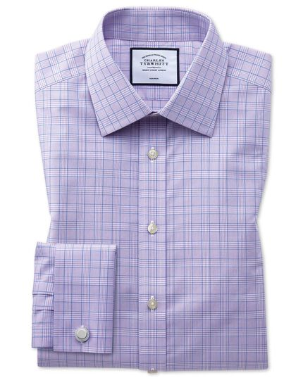 Classic fit non-iron lilac and blue Prince of Wales check shirt