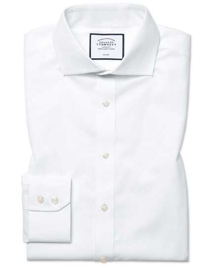 Slim fit white non-iron poplin spread collar shirt